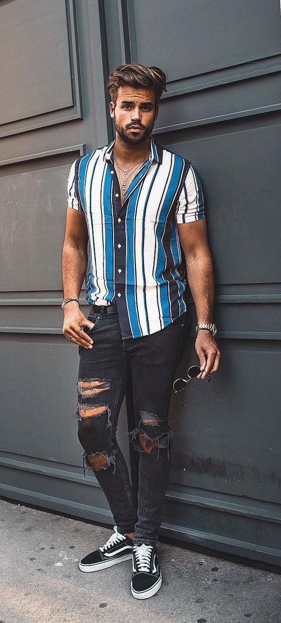 Resultado de imagem para camisa listras verticais grossas moda masculina 2020